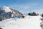 Germany, Bavaria, Upper Bavaria, Tegernseer Valley, top station of Wallberg cable car with panorama-restaurant, left Wallberg peak