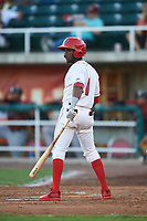 Orem Owlz Jose Quezada (1) at bat during a Pioneer League game against the Idaho Falls Chukars at The Home of the OWLZ on August 13, 2019 in Orem, Utah. Orem defeated Idaho Falls 3-1. (Zachary Lucy/Four Seam Images)