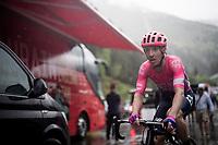misty finish line arrival by Michael Woods (CAN/EF Education First)<br /> <br /> torrential rainstorm hits Stage 7: Saint-Genix-les-Villages to Pipay  (133km)<br /> 71st Critérium du Dauphiné 2019 (2.UWT)<br /> <br /> ©kramon
