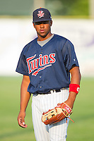 Derrick Phillips #41 of the Elizabethton Twins at Joe O'Brien Field August 14, 2010, in Elizabethton, Tennessee.  Photo by Brian Westerholt / Four Seam Images