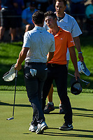 4th June 2021; Dublin, Ohio, USA; Rory McIlroy (NIR) shakes hands with Viktor Hovland (NOR) on the green on 9 following the Memorial Tournament Rd2 at Muirfield Village Golf Club on June 4, 2021 in Dublin, Ohio.