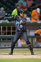 Yoan Moncada (10) of the Charlotte Knights at bat against the Norfolk Tides at BB&T BallPark on May 2, 2017 in Charlotte, North Carolina.  The Knights defeated the Tides 8-3.  (Brian Westerholt/Four Seam Images)