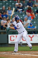 Round Rock Express first baseman Chris Gimenez #4 at bat during the Pacific Coast League baseball game against the Memphis Redbirds on April 24, 2014 at the Dell Diamond in Round Rock, Texas. The Express defeated the Redbirds 6-2. (Andrew Woolley/Four Seam Images)