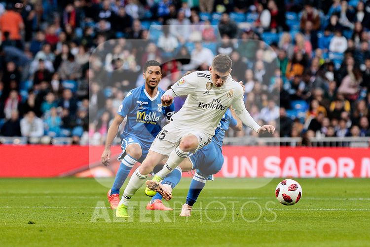 Real Madrid's Federico Valverde during Copa del Rey match between Real Madrid and UD Melilla at Santiago Bernabeu Stadium in Madrid, Spain. December 06, 2018. (ALTERPHOTOS/A. Perez Meca)
