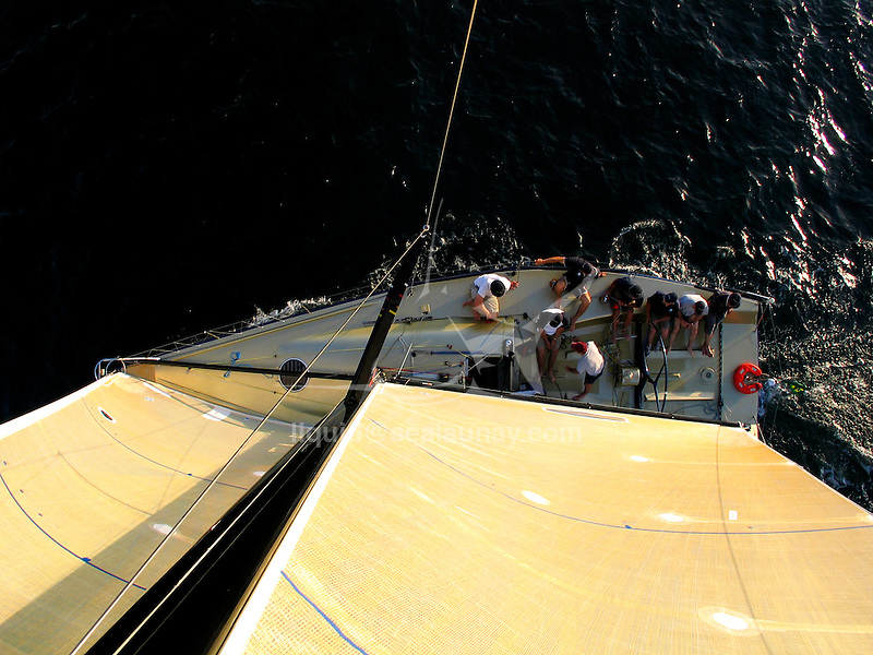 Onboard the Farr 40 Kokomo during a training session  in Sydney Harbour..The FARR ® 40 One Design was conceived as a high performance 40 footer that would gather the benefits of modern materials into an economic platform for short course racing that was demanding, exciting and not beyond the capabilities of relatively inexperienced and mature crew members.