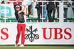 Alexander Björk of Sweden tees off the first hole during the 58th UBS Hong Kong Golf Open as part of the European Tour on 08 December 2016, at the Hong Kong Golf Club, Fanling, Hong Kong, China. Photo by Marcio Rodrigo Machado / Power Sport Images