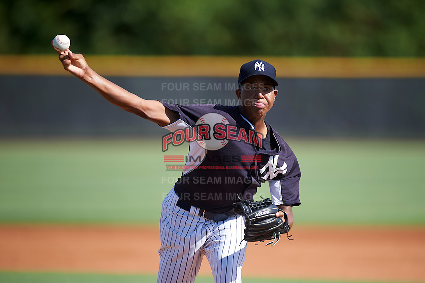 GCL Yankees East starting pitcher Rony Garcia (97) during a game against the GCL Yankees West on August 3, 2016 at the Yankees Complex in Tampa, Florida.  GCL Yankees East defeated GCL Yankees West 12-2.  (Mike Janes/Four Seam Images)