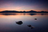 Loch Lomond and the Luss Hills at dusk from Balmaha, Loch Lomond and the Trossachs National Park, Stirlingshire