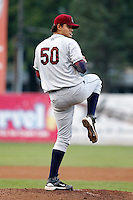 Mahoning Valley Scrappers pitcher Elvis Araujo #50 during a game against the Jamestown Jammers at Russell E. Diethrick Jr Park on September 2, 2011 in Jamestown, New York.  Mahoning Valley defeated Jamestown 8-4.  (Mike Janes/Four Seam Images)