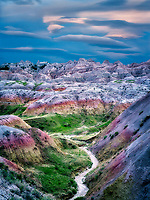 Colorful formations in Badlands National Park, South Dakota