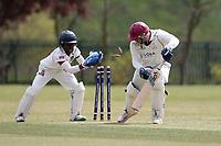 A stumping attempt during Rainham CC (batting) vs South Woodford CC, Hamro Foundation Essex League Cricket at Spring Farm Park on 1st May 2021