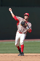 Alfredo Rodriguez #2 of the Maryland Terrapins makes a throw during a game against the UCLA Bruins at Jackie Robinson Stadium on February 19, 2012 in Los Angeles,California. Maryland defeated UCLA 5-1.(Larry Goren/Four Seam Images)