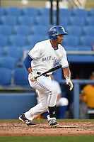 Dunedin Blue Jays outfielder Derrick Loveless (14) at bat during a game against the Bradenton Marauders on April 14, 2015 at Florida Auto Exchange Stadium in Dunedin, Florida.  Bradenton defeated Dunedin 7-1.  (Mike Janes/Four Seam Images)
