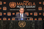 Opening Plenary Meeting of the Nelson Mandela Peace Summit<br /> <br /> China FM