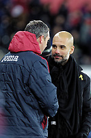 (L-R) Swansea manager Paul Clement speaks to #om after the end of the game during the Premier League match between Swansea City and Manchester City at The Liberty Stadium, Swansea, Wales, UK. Wednesday 13 December 2017