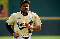 Vanderbilt Commodores pitcher Kumar Rocker (80) jogs on the field between innings against the Tennessee Volunteers on Robert M. Lindsay Field at Lindsey Nelson Stadium on April 17, 2021, in Knoxville, Tennessee. (Danny Parker/Four Seam Images)
