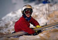 Oskar Ødegaard Mortensen (8)struggle to carry his skies to the top of the old Schorderbakken ski jump.