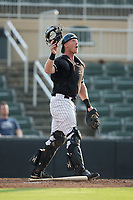 Kannapolis Intimidators catcher Casey Schroeder (17) on defense against the Hagerstown Suns at Kannapolis Intimidators Stadium on July 10, 2017 in Kannapolis, North Carolina.  The Suns defeated the Intimidators 8-5.  (Brian Westerholt/Four Seam Images)