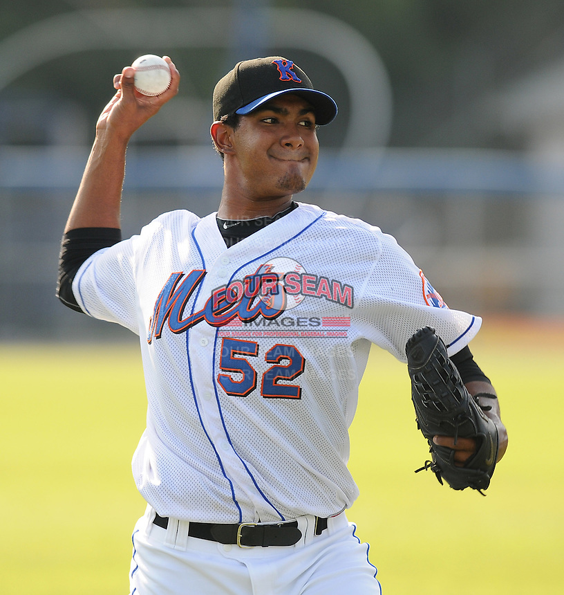 Pitcher Miller Diaz (52) of the Kingsport Mets, Appalachian League affiliate of the New York Mets, prior to a game against the Burlington Royals on August 20, 2011, at Hunter Wright Stadium in Kingsport, Tennessee. Kingsport defeated Burlington, 17-14. (Tom Priddy/Four Seam Images)