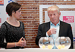 Gordon Strachan and Eilidh Barbour at the draw for the Homeless World Cup today
