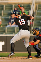 Michael Ohlman #19 of the Delmarva Shorebirds at bat against the Kannapolis Intimidators at Fieldcrest Cannon Stadium May 12, 2010, in Kannapolis, North Carolina.  Photo by Brian Westerholt / Four Seam Images