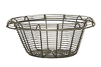 Open-weave wire basket that has been clipped out