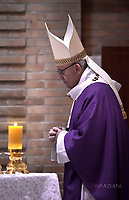 Pope Francis  during a visit to the Roman Parish of Santa Maddalena di Canossa, on March 12, 2017 near Rome