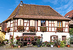 A half-timbered building containing a wine cellar in Eguisheim