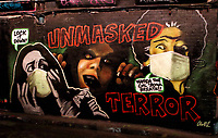 Street Art at Leake Street tunnels which was part of the recent Halloween Paint Jam. Leake Street, Waterloo, London on November 4th 2020<br /> <br /> Photo by Keith Mayhew