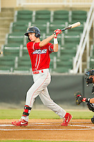 Carlos Tocci (16) of the Lakewood BlueClaws follows through on his swing against the Kannapolis Intimidators at CMC-Northeast Stadium on August 13, 2013 in Kannapolis, North Carolina.  The Intimidators defeated the BlueClaws 12-8.  (Brian Westerholt/Four Seam Images)