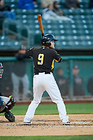 Brennon Lund (9) of the Salt Lake Bees bats against the Sacramento River Cats at Smith's Ballpark on April 12, 2019 in Salt Lake City, Utah. The River Cats defeated the Bees 4-2. (Stephen Smith/Four Seam Images)