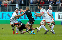 16 November 2019; Marcell Coetzee is tackled by Zach Mercer and Jonathan Joseph during the Heineken Champions Cup Pool 3 Round 1 match between Bath and Ulster at The Recreation Ground in Bath, England. Photo by John Dickson/DICKSONDIGITAL