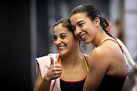 Antolino Pacheco Valeria ESP and Velazquez Roldan Rocio ESP<br /> Diving - Women's 3m preliminary<br /> XXXV LEN European Aquatic Championships<br /> Duna Arena<br /> Budapest  - Hungary  15/5/2021<br /> Photo Giorgio Perottino / Deepbluemedia / Insidefoto