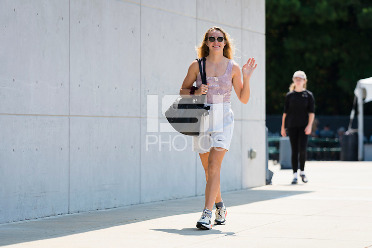 CARY, NC - SEPTEMBER 12: Schuyler DeBree #15 of the NC Courage arrives at Sahlen's Stadium before a game between Portland Thorns FC and North Carolina Courage at WakeMed Soccer Park on September 12, 2021 in Cary, North Carolina.