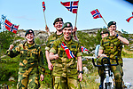 The Norwegian Army cheer on the riders during Stage 1 of the 2018 Artic Race of Norway, running 184km from Vadso to Kirkenes, Norway. 16th August 2018. <br /> <br /> Picture: ASO/Gautier Demouveaux | Cyclefile<br /> All photos usage must carry mandatory copyright credit (© Cyclefile | ASO/Gautier Demouveaux)