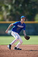 Alex James (19), from Wolcott, Connecticut, while playing for the Dodgers during the Baseball Factory Pirate City Christmas Camp & Tournament on December 28, 2017 at Pirate City in Bradenton, Florida.  (Mike Janes/Four Seam Images)