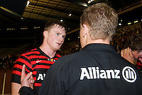 20121020 Copyright onEdition 2012©.Free for editorial use image, please credit: onEdition..Mark McCall, Saracens Director of Rugby, de-briefs Chris Ashton after the Heineken Cup Round 2 match between Saracens and Racing Metro 92 at the King Baudouin Stadium, Brussels on Saturday 20th October 2012 (Photo by Rob Munro)..For press contacts contact: Sam Feasey at brandRapport on M: +44 (0)7717 757114 E: SFeasey@brand-rapport.com..If you require a higher resolution image or you have any other onEdition photographic enquiries, please contact onEdition on 0845 900 2 900 or email info@onEdition.com.This image is copyright the onEdition 2012©..This image has been supplied by onEdition and must be credited onEdition. The author is asserting his full Moral rights in relation to the publication of this image. Rights for onward transmission of any image or file is not granted or implied. Changing or deleting Copyright information is illegal as specified in the Copyright, Design and Patents Act 1988. If you are in any way unsure of your right to publish this image please contact onEdition on 0845 900 2 900 or email info@onEdition.com