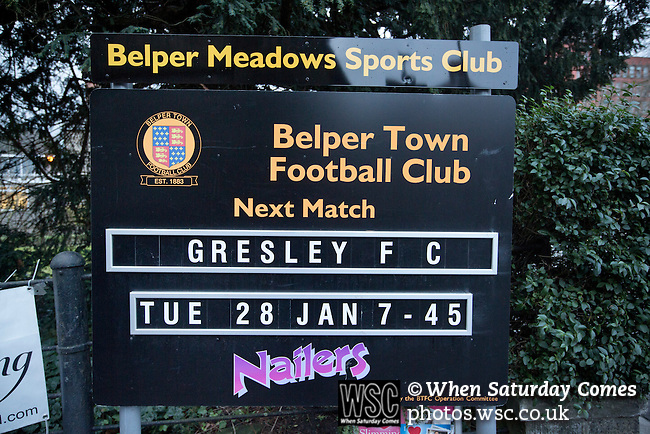 Belper Town v Gresley, 28/01/2014. Christchurch meadow, Northern Premier League. A sign advertising Belper Town's match against Gresley, in a Northern Premier League, first division south fixture at Christchurch meadow, Belper. The home side have played at their current ground since the club was reformed in 1951. Belper won this fixture against their local Derbyshire rivals by 4 goals to 1 watched by a crowd of 165 spectators. Photo by Colin McPherson.