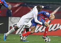 Jozy Altidore #17 of the USA leans on Luis Marin #3 of Costa Rica during a 2010 World Cup qualifying match in the CONCACAF region at RFK Stadium on October 14 2009, in Washington D.C.The match ended in a 2-2 tie.