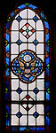 """East Liberty section of Pittsburgh PA:  East Liberty Presbyterian Church's Wayfarers' Chapel. This image is included in the book; """"The Art and Architecture of the East Liberty Presbyterian Church"""".  This window was designed by Howard G. Wilbert and illustrates the Great Seal of the United States."""