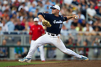 North Carolina pitcher Hobbs Johnson (29) delivers a pitch to the plate during Game 10 of the 2013 Men's College World Series against the North Carolina State Wolfpack on June 20, 2013 at TD Ameritrade Park in Omaha, Nebraska. The Tar Heels defeated the Wolfpack 7-0, eliminating North Carolina State from the tournament. (Andrew Woolley/Four Seam Images)