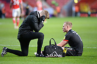 4th May 2021; The Valley, London, England; English Football League One Football, Charlton Athletic versus Lincoln City; Sculley receives medical attention after he is injured for Lincoln