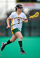 5 April 2008: University of Vermont Catamounts' Midfielder Caitlyn Clark, a Freshman from Franklin Lakes, NJ, in action against the University at Albany Great Danes at Moulton Winder Field, in Burlington, Vermont. With only seconds left in regulation time, the Catamounts rallied to defeat the visiting Danes 11-10 in America East conference play...Mandatory Photo Credit: Ed Wolfstein Photo