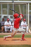 Philadelphia Phillies Logan O'Hoppe (6) bats during an exhibition game against the Canada Junior National Team on March 11, 2020 at Baseball City in St. Petersburg, Florida.  (Mike Janes/Four Seam Images)