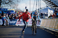 Michael Vanthourenhout (BEL) just became U23 world champion<br /> <br /> 2015 UCI World Championships Cyclocross <br /> Tabor, Czech Republic