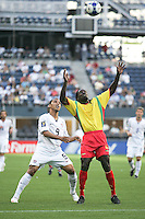 Charlie Davies (9) and Jason James (5) get set for the header. USA defeated Grenada 4-0 during the First Round of the 2009 CONCACAF Gold Cup at Qwest Field in Seattle, Washington on July 4, 2009.