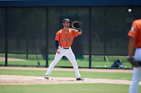 GCL Astros first baseman Ronaldo Urdaneta (3) waits to receive a throw during a game against the GCL Nationals on August 6, 2018 at FITTEAM Ballpark of the Palm Beaches in West Palm Beach, Florida.  GCL Astros defeated GCL Nationals 3-0.  (Mike Janes/Four Seam Images)