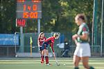 Mannheim, Germany, October 18: During the 1. Bundesliga women fieldhockey match between Mannheimer HC (red) and Uhlenhorst Muelheim (green) on October 18, 2020 at Am Neckarkanal in Mannheim, Germany. Final score 1-0 (HT 0-0). (Copyright Dirk Markgraf / www.265-images.com) *** Naomi Heyn #20 of Mannheimer HC