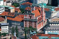 Blick von Burg auf Franziskaner Kirche. Lubljana, Slowenien