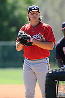 Pitcher Jarrett Miller (52) of the Atlanta Braves farm system in a Minor League Spring Training workout on Monday, March 16, 2015, at the ESPN Wide World of Sports Complex in Lake Buena Vista, Florida. (Tom Priddy/Four Seam Images)